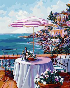 Фото Картины на холсте по номерам, Морской пейзаж AS 0715 Кофейня у моря Картина по номерам на холсте Art Story 40x50см