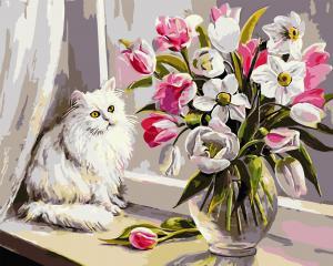 Фото Картины на холсте по номерам, Животные. Птицы. Рыбы... AS 0733 Кот на подоконнике Картина по номерам на холсте Art Story 40x50см