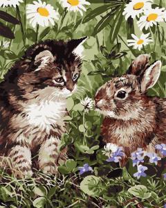 Фото Картины на холсте по номерам, Животные. Птицы. Рыбы... AS 0741 Кот и кролик по номерам на холсте Art Story 40x50см