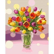 Фото Картины на холсте по номерам, Букеты, Цветы, Натюрморты KH 3064 Солнечные тюльпаны Картина по номерам на холсте 40х50см