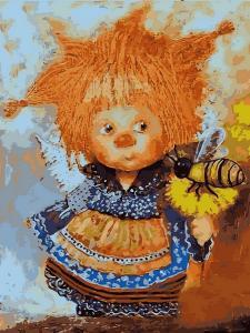 Фото Картины на холсте по номерам, Дети на картине VK 234 Солнечный ангел с пчелой Картина по номерам на холсте 40x30см