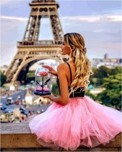Фото Картины на холсте по номерам, Романтические картины. Люди VP 1235 С цветком в Париже Картина по номерам на холсте 40х50см