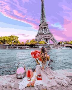 Фото Картины на холсте по номерам, Романтические картины. Люди VP 1237 Свидание в Париже Картина по номерам на холсте 40х50см