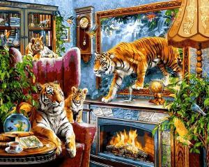Фото Картины на холсте по номерам, Животные. Птицы. Рыбы... VP 1244 Тигры Картина по номерам на холсте 40х50см