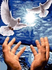 Фото Картины на холсте по номерам, Животные. Птицы. Рыбы... VK 246 Пара голубей Картина по номерам на холсте 40x30см