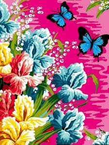 Фото Картины на холсте по номерам, Букеты, Цветы, Натюрморты VK 247 Ирисы и бабочки Картина по номерам на холсте 40x30см