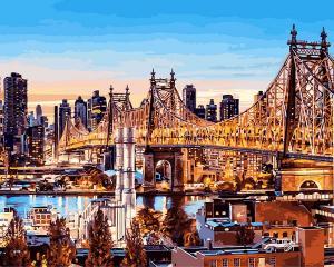 Фото Картины на холсте по номерам, Городской пейзаж VP 1245 Вечер в Нью-Йорке Картина по номерам на холсте 40х50см