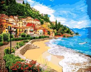 Фото Картины на холсте по номерам, Морской пейзаж VP 1246 Город у моря Картина по номерам на холсте 40х50см