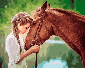 Фото Картины на холсте по номерам, Романтические картины. Люди VP 1249 Девушка и лошадь Картина по номерам на холсте 40х50см