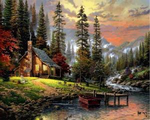 Фото Наборы для вышивания, Вышивка крестом с нанесенной схемой на конву, Пейзаж VP 1261 Охотничий домик Картина по номерам на холсте 40х50см  (43 краски)