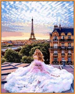 Фото  NBR 1013 Парижские мечты (цветной холст в рамке)  Premium 40x50см