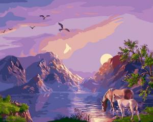 Фото  NBR 182 Закат в горах (цветной холст в рамке)  Premium 40x50см