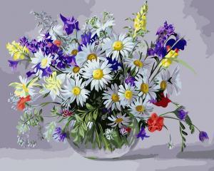Фото Картины на холсте по номерам, Букеты, Цветы, Натюрморты KGX 9890 Ваза полевых цветов  Роспись по номерам на холсте 40х50см
