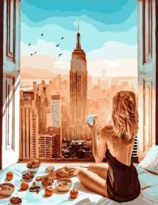 Фото Картины на холсте по номерам, Романтические картины. Люди KGX 34447 Приятный завтрак Картина по номерам на холсте 40х50см