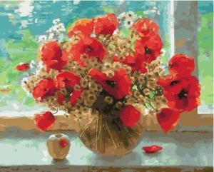 Фото Картины на холсте по номерам, Букеты, Цветы, Натюрморты KGX 33883 Маки у окна Картина по номерам на холсте 40х50см