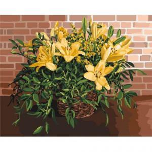 Фото Картины на холсте по номерам, Букеты, Цветы, Натюрморты KH 3067 Изысканные лилии Картина по номерам на холсте 40х50см