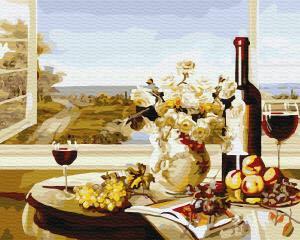 Фото Картины на холсте по номерам, Букеты, Цветы, Натюрморты KG 297 Романтика у окна Картина по номерам на холсте 40х50см