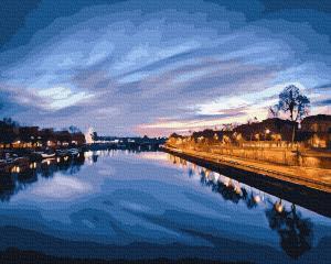 Фото Наборы для вышивания, Вышивка крестом с нанесенной схемой на конву, Пейзаж KGX 23841 Вид на ночную реку Картина по номерам на холсте 40х50см