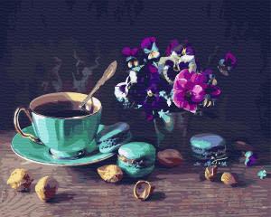 Фото Картины на холсте по номерам, Букеты, Цветы, Натюрморты KGX 31574 Кофе с макарунами Картина по номерам на холсте 40х50см
