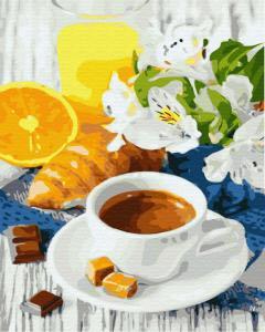 Фото Картины на холсте по номерам, Букеты, Цветы, Натюрморты KGX 31724 Цитрусовый кофе Картина по номерам на холсте 40х50см