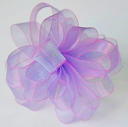 Фото Новинки V I P лента Органза 4 см. Сиреневого цвета с переливом и Розовой окантовкой по краям.
