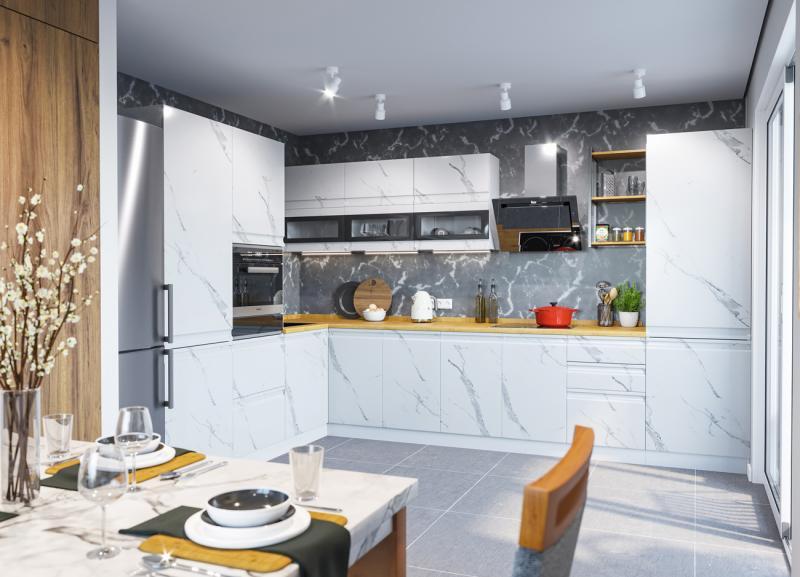 Фото Кухни модульные Модульная кухня Скала Мрамор арктик (ДСВ)