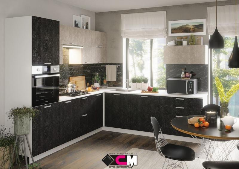 Фото Кухни модульные Кухня Бетоны МДФ графит/снежный (Стендмебель)
