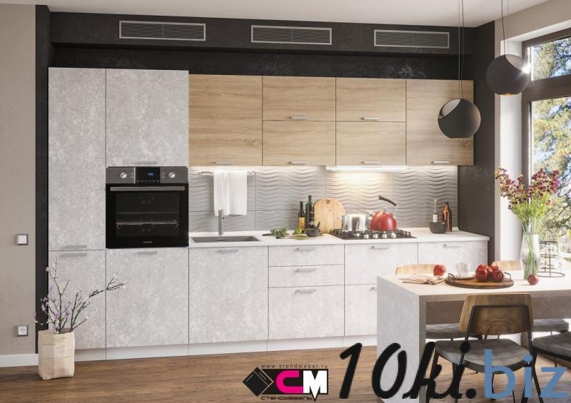 Кухонные гарнитуры - Кухня Бетоны МДФ снежный/дуб сонома (Стендмебель)