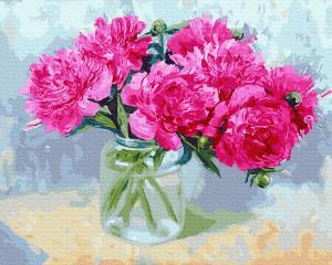 Фото Картины на холсте по номерам, Букеты, Цветы, Натюрморты KGX 34126 Малиновые пионы Картина по номерам  40х50см в коробке