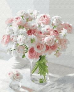 Фото Картины на холсте по номерам, Букеты, Цветы, Натюрморты KGX 37790 Нежные розы Картина по номерам  40х50см в коробке