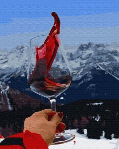 Фото Наборы для вышивания, Вышивка крестом с нанесенной схемой на конву, Пейзаж KGX 38225 Вино и горы Картина по номерам на холсте 40х50см