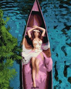 Фото Картины на холсте по номерам, Романтические картины. Люди KGX 38334 Девушка в лодке Картина по номерам на холсте 40х50см