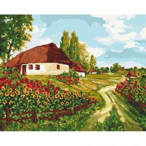 Фото Картины на холсте по номерам, Загородный дом KH 2277 Украинскими тропами Картина по номерам на холсте 40х50см