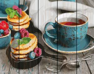 Фото  GXT 26494 Чай с оладушками Картина по номерам на дереве 50х40 см