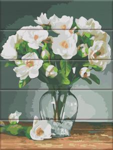 Фото  ASW 142 Белые цветы Картина по номерам на дереве 30х40 см