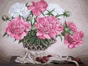 Фото Картины на холсте по номерам, Букеты, Цветы, Натюрморты KGX 23826 Пионы и яблоки Картина по номерам на холсте 40х50см