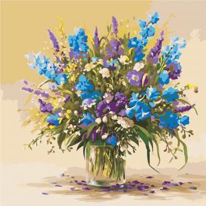 Фото Картины на холсте по номерам, Букеты, Цветы, Натюрморты AS 0945 Букет полевых цветов Картина по номерам на холсте Art Story 40x40см