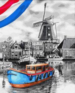 Фото Картины на холсте по номерам, Морской пейзаж KGX 34231 Лодки у мельницы Картина по номерам на холсте 40х50см