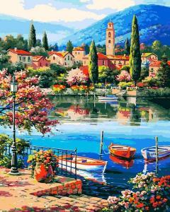 Фото Картины на холсте по номерам, Морской пейзаж VP 1309 Город у моря  картина по номерам 40х50см