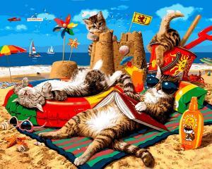 Фото Картины на холсте по номерам, Животные. Птицы. Рыбы... VP 1317 Семья котов на море   картина по номерам 40х50см