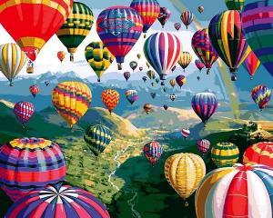 Фото Наборы для вышивания, Вышивка крестом с нанесенной схемой на конву, Пейзаж Q2233 Разноцветные шары  Роспись по номерам на холсте 40х50см