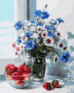 Фото Картины на холсте по номерам, Букеты, Цветы, Натюрморты KGX 30291 Клубника и полевой букет Картина по номерам  40х50см в коробке