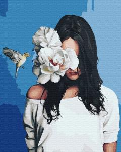 Фото Картины на холсте по номерам, Романтические картины. Люди KGX 36357 Девушка с колибри Картина по номерам на холсте 40х50см