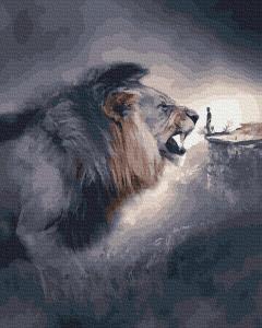 Фото Картины на холсте по номерам, Животные. Птицы. Рыбы... KGX 38329 Лев и человек Картина по номерам на холсте 40х50см
