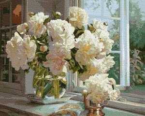 Фото Картины на холсте по номерам, Букеты, Цветы, Натюрморты KGX 38402 Пионы на подоконнике Картина по номерам на холсте 40х50см