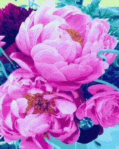 Фото Картины на холсте по номерам, Букеты, Цветы, Натюрморты KGX 31448  Волшебный аромат пионов Картина по номерам на холсте 40х50см без коробки, в пакете