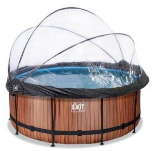 Фото  Бассейн с куполом EXIT дерево 360х122 см (песочный фильтр)