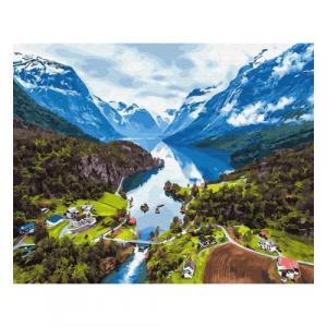 Фото Наборы для вышивания, Вышивка крестом с нанесенной схемой на конву, Пейзаж KGX 28730 Альпы Картина по номерам на холсте 40х50см