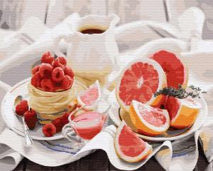 Фото Картины на холсте по номерам, Букеты, Цветы, Натюрморты KGX 30655 Полезный завтрак Роспись по номерам на холсте 40х50см