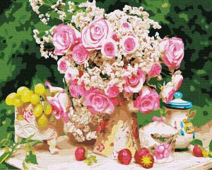 Фото Картины на холсте по номерам, Букеты, Цветы, Натюрморты KG388 Садовые розы по номерам на холсте 40х50см